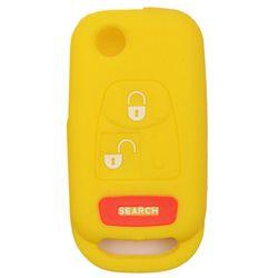 KMH Silicone Key Cover for Mahindra Bolero 3 Button Flip Key (Yellow)