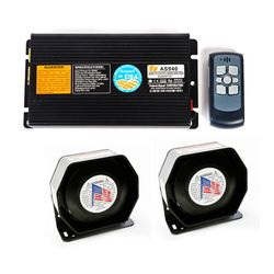 KMH Federal Signal (AS940) 400W wireless car siren Amplifier with 2 pcs slim speaker siren And wireless remote