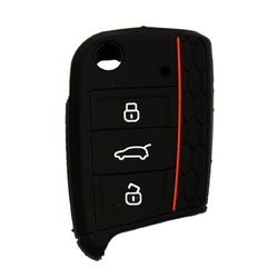KMH Silicone Key Cover for Skoda Octavia 2014 3 Button Flip Key (Black)