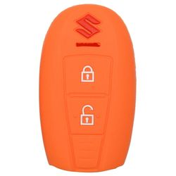 KMH Silicone Key Cover Fit for Maruti  Suzuki Ciaz Smart Key (Orange)