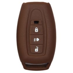 KMH Silicone Key Cover for Tata Safari Storme,3 Button Remote Key (Brown)