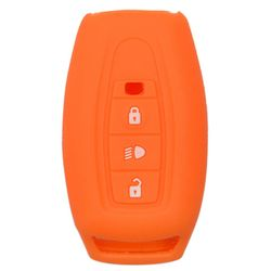 KMH Silicone Key Cover for Tata Safari Storme,3 Button Remote Key (Orange)