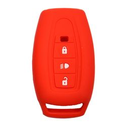 KMH Silicone Key Cover for Tata Safari Storme,3 Button Remote Key (Red)
