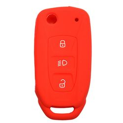 KMH Silicone Key Cover Fit for Tata Zest Flip Key (Red)