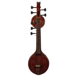 Sg Musical Carving with Standard Stand, Mela Cover and Veena Cover