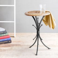 Onlineshoppee End Table Walnut And Black