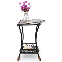 Onlineshoppee Wood & Iron cum End Table Size(LxBxH-16x16x26) Inch