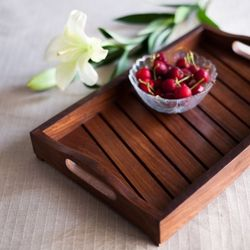 Onlineshoppee Fancy Design Kitchen Ware Sheesam Wood In Engraved Wood Tray Size(LxBxH-13.9x9.0x2.2) Inch