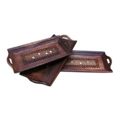 Wooden Serving Tray Set Hand Carved