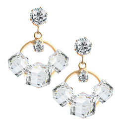 YouBella Fashion Jewellery Summer Special Crystal Stylish Fancy Party Wear Earrings for Girls and Women (White)