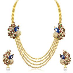 Youbella Traditional Dancing Peacock Temple Gold Plated Jewellery Set For Women