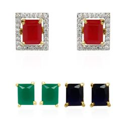 YouBella Multi-Color 6 in 1 Interchangeable Rectangular Shaped Earrings