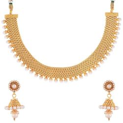 YouBella Traditional Jhumki Pearl Temple coin Necklace Set for Women