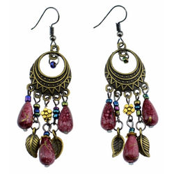 YouBella Jewellery Bohemian Style hanging Earings Fashion Fancy Party Wear Earrings for Girls and Women (Purple)