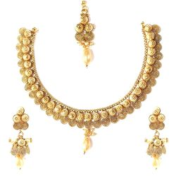 Necklace Set by YouBella - Traditional Pearl Temple Necklace Set / Jewellery Set with Earrings for Women