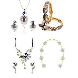 YouBella Women's Pride Collection Combo of American Diamond Earcuff Earrings, Dancing Peacock Mangalsutra, Bangles and Pendant Set with Chain
