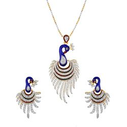 YouBella CZ Peacock Pendant Set with Chain for Women