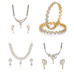 YouBella Women's Pride Collection Combo of American Diamond Necklace, Two Designer Mangalsutra and Stylish Bangles