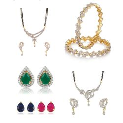 YouBella Pride Collection Combo of 6 in 1 Interchangeable Earrings, 2 Mangalsutra and Stylish Bangles for Women