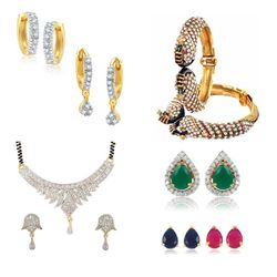 YouBella Pride Collection Combo of Mangalsutra, Two Earrings, Interchangeable Earrings and Stylish Bangles for Women