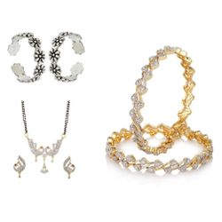YouBella Women's Pride Collection Combo of 92.5 Sterling Silver Toe Ring, Designer Mangalsutra and Stylish Bangles