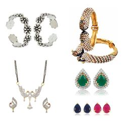 YouBella Women's Pride Combo of 92.5 Sterling Silver Toe Ring, Mangalsutra, Interchangeable earrings and Stylish Bangles