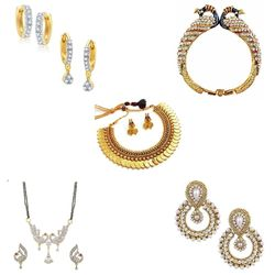 YouBella Women's Pride Combo of Temple Coin Necklace, Mangalsutra, 2 Earring Set, Traditional Earring and Stylish Bangles