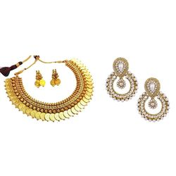 YouBella Pride Combo of White Pearl Temple Coin Necklace and Traditional Chandbali Earrings for Women
