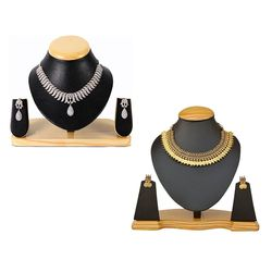 YouBella All Time Best Sellers Combo of American Diamond Jewellery Set and Red Green Traditional Temple Coin Necklace Set