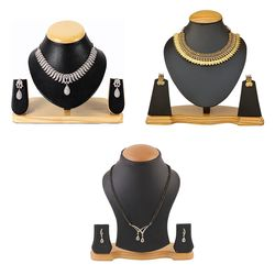 YouBella All Time Best Sellers Combo of American Diamond Jewellery Set , Red Green Traditional Temple Coin Necklace Set and American Diamond Mangalsutra with Earrings