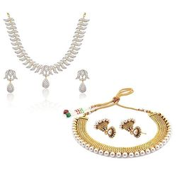 YouBella All Time Best Sellers Combo of American Diamond Jewellery Set and Traditional Pearl Necklace set with Jhumki Earrings