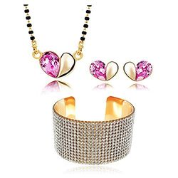 YouBella Jewellery Exclusive Combo Of Crystal Studded Mangalsutra Pendant with Chain and Earrings and Crystal Bangle Bracelet for Girls and Women