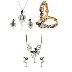 YouBella Pride Collection Combo of Dancing Peacock Mangalsutra, Bangles and P