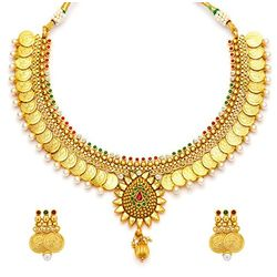 Multicolor Temple Coin Necklace set With Pearl
