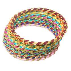 YouBella Stylish Gold Plated Multi-color Thread Work Bangles - 12 pcs