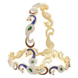 YouBella Dancing Peacock American Diamond Gold Plated Bangles For Women