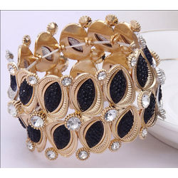 Black and Golden Stretchable High Quality Bracelet