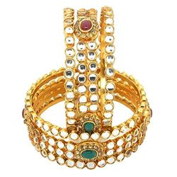 YouBella Gold Plated Kundan Polki Bangles For Women