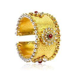 YouBella Kundan and Pearls Gold Plated Kara Bangle For Women