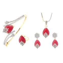 Valentine Gift : YouBella Signature Collection American Diamond Combo of Pendant with Earrings, Bracelet and Ring