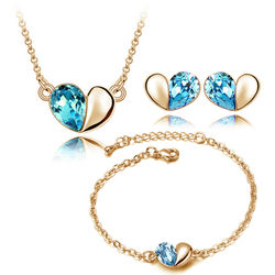 Charming Heart Shaped Golden Blue Color Combo of Pendant Set with Earrings and Bracelet