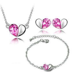 Beloved Heart Shaped Silver Pink Color Combo of Pendant Set with Earrings and Bracelet