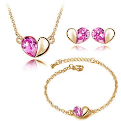 Heart Shaped Golen Pink Color Combo of Pendant Set with Earrings and Bracelet