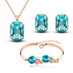 Alluring Golden Blue Rectangular Shaped Combo of Pendant Set with Earrings and Bracelet