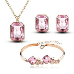Classy Golden Pink Rectangular Shaped Combo of Pendant Set with Earrings and Bracelet