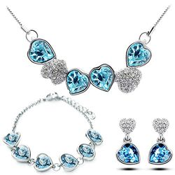 Hearthrob Silver Blue Pendant Set with Earrings and Bracelet