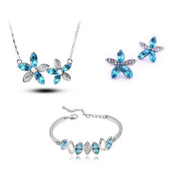 Celestial Silver Blue Star Shaped Pendant Set with Earrings and Bracelet