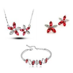 Angelic Silver Red Star Shaped Pendant Set with Earrings and Bracelet