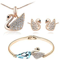 YouBella Jewellery Cute Swan Crystal Combo of Pendant Necklace Set, Bangle Bracelet and Fancy Party Wear Earrings for Girls and Women