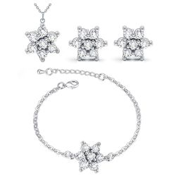 YouBella Jewellery Christmas Special Gift Diamond Look Combo of Pendant Necklace Set, Bangle Bracelet and Fancy Party Wear Earrings for Girls and Women